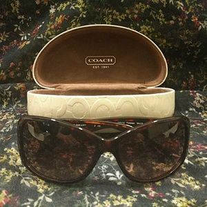 Coach tortoise sunglasses and case